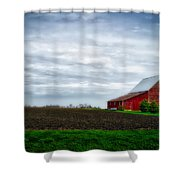 Farming Red Barn On A Quite Spring Day Shower Curtain