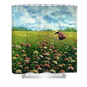 Farmstand Flower Lady Shower Curtain