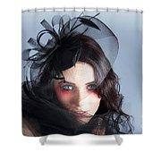 Fascinating Makeup Woman In High Fashion Hat  Shower Curtain