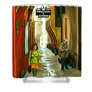 Fashion Alley In Bologna Shower Curtain by Milagros Palmieri