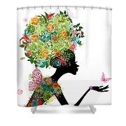 Fashion Girl With Hair Arabesque Shower Curtain