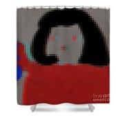 Fashion Pixel Lady Shower Curtain
