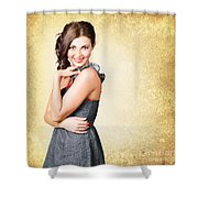 Fashionable Girl In Classic 50s Style Clothing Shower Curtain