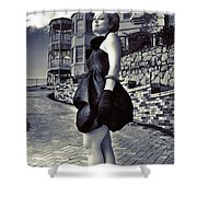 Fashionable Woman And Mansion Shower Curtain