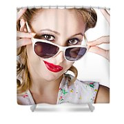Fashionable Woman In Sun Shades Shower Curtain