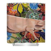Fashionista Pig Shower Curtain
