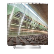 Fast Moving Long Exposure Of Subway Train Underground Tunnel Shower Curtain