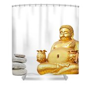 Fat Happy Buddha In Meditation Shower Curtain