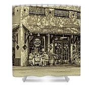 Fat Hen Grocery Sepia Shower Curtain