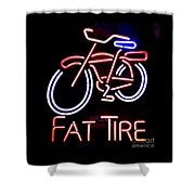 Fat Tire Neon Sign Shower Curtain