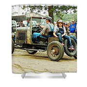 Father And Daughter In The Tractor Parade Shower Curtain