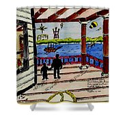 Father And Son On The Porch Shower Curtain
