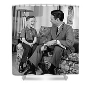 Father And Son Talking And Smiling Shower Curtain