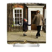 Father And Son Walking Towards Georgian Entrance Shower Curtain
