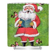 Father Christmas And Robin Chorus Shower Curtain