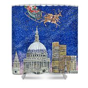 Father Christmas Flying Over London Shower Curtain