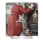 Father Christmas Shower Curtain by Karl Roger