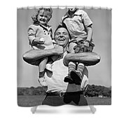 Father Holding Children, C.1930s Shower Curtain