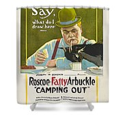 Fatty Arbuckle In Camping Out 1919 Shower Curtain