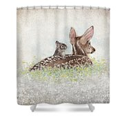 Fawn And Bunny Shower Curtain