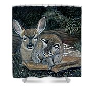 Fawn And Cat Shower Curtain