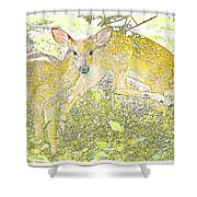 Fawn Twins Digital Painting Shower Curtain