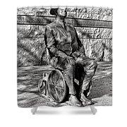 Fdr Memorial Sculpture In Wheelchair Shower Curtain