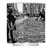 Fearless Girl And Wall Street Bull Statues 3 Bw Shower Curtain