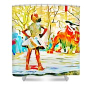 Fearless Girl And Wall Street Bull Statues 6 Watercolor Shower Curtain