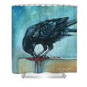 Feasting Raven Shower Curtain