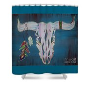 Feather Bull Skull  Shower Curtain