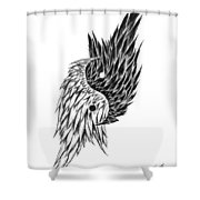 Feathered Ying Yang  Shower Curtain