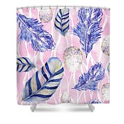 Feathers And Eggs Pattern Shower Curtain