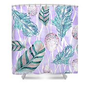 Feathers And Spotted Bird Eggs Woodland Nature Pattern Shower Curtain