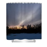 February Dawn Over Mississippi River Shower Curtain