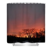 February Morning Red Sky Shower Curtain