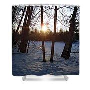 February Sunrise Alongside A Tree Shower Curtain