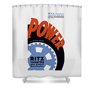 Federal Theatre Project Presents Power Wpa Shower Curtain