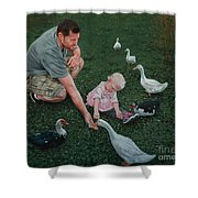 Feeding Ducks With Daddy Shower Curtain