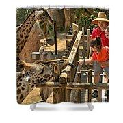 Feeding Giraffe 2 Shower Curtain