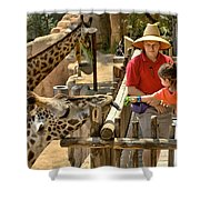 Feeding Giraffe 3a Shower Curtain