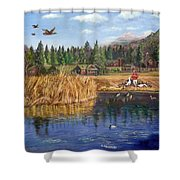 Feeding The Ducks Shower Curtain