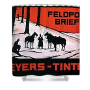 Feldpost-briefe - Beyers-tinten - Two Man With Horses - Retro Travel Poster - Vintage Poster Shower Curtain