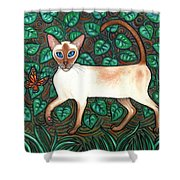 Felina And The Monarch Shower Curtain