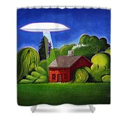 Feline Ufo Abduction Shower Curtain