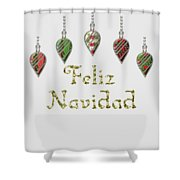 Feliz Navidad Spanish Merry Christmas Shower Curtain