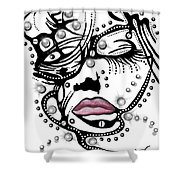 Female Abstract Face Shower Curtain by Darren Cannell