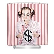 Female Business Superhero Showing Dollar Sign Shower Curtain