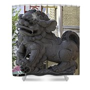 Female Chinese Guardian Lion Shower Curtain