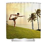 Female Doing Yoga Shower Curtain